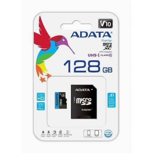 Флаш карта Secure Digital Card Micro 128GB Adata SDXC UHS-I U1 A1 V10, AUSDX128GUICL10A1-RA1 (снимка 1)