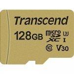 Secure Digital Card Micro 128GB Transcend SDHC 500S UHS-I U3 V30, Adapter, TS128GUSD500S (Флаш карти)