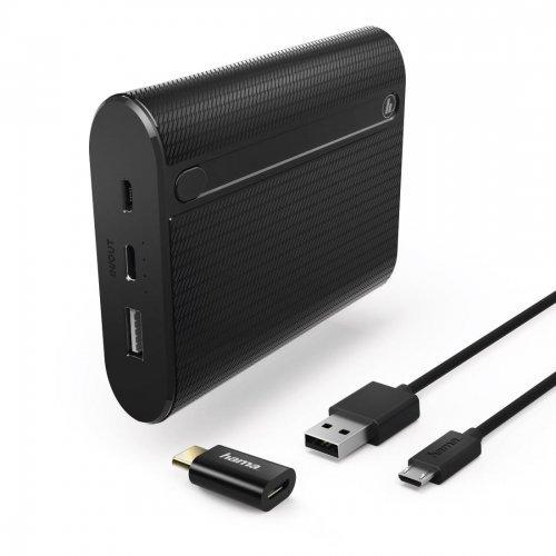 Мобилна батерия Hama X10 178983, 10400mAh, USB/USB-C, Black (снимка 1)