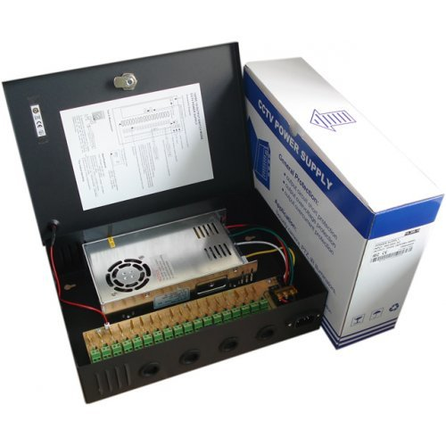 Захранващ блок Захранващ блок за видеонаблюдение 12V/25A 300W 18 канален (снимка 1)