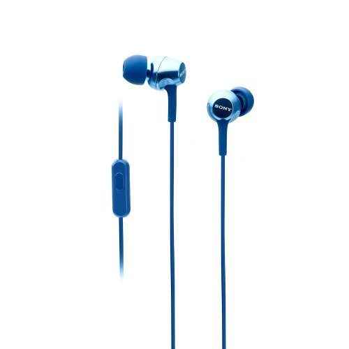 Слушалки Sony Headset MDR-EX155AP, 9mm Neodymium drivers, 5Hz-24 000Hz, 16 Ohm, 103dB / mW, in-line remote mic, Blue (снимка 1)