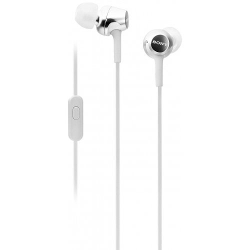 Слушалки Sony Headset MDR-EX155AP, 9mm Neodymium drivers, 5Hz-24 000Hz, 16 Ohm, 103dB / mW, in-line remote mic, White (снимка 1)