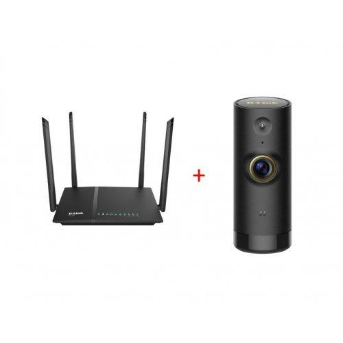 Жичен рутер D-Link DIR-825 AC 1200 Wi-Fi Dual-Band Gigabit (LAN/WAN) Router + D-Link Mini HD Wi-Fi Camera (снимка 1)
