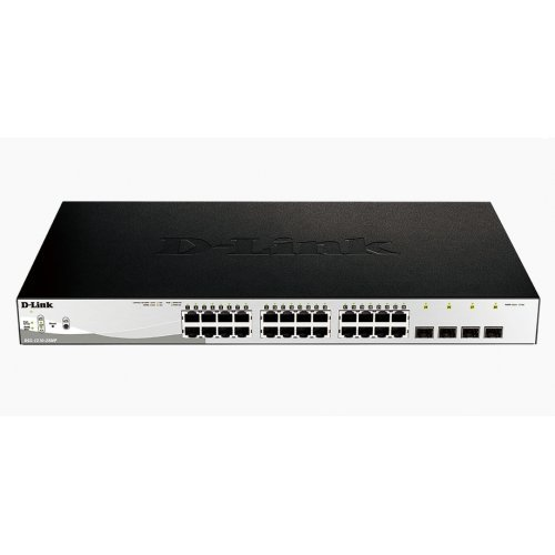 Суич D-Link 28-Port Gigabit PoE+ Smart Switch including 4 SFP Ports (снимка 1)