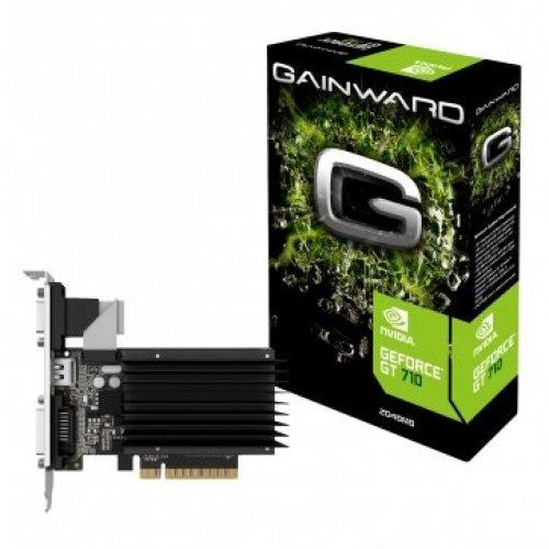 Видео карта nVidia Gainward GeForce GT710 SilentFX, 2 GB DDR3, 64 bits, PCI-E 2.0 x16, VGA, HDMI, DVI (снимка 1)