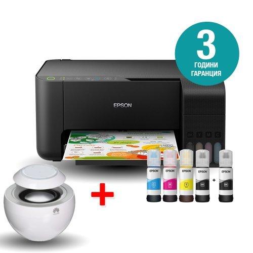 Принтер Epson L3150 WiFi MFP, C11CG86405, EcoTank ink bottles, USB с подарък безжична колонка Huawei AM08, бял цвят (снимка 1)