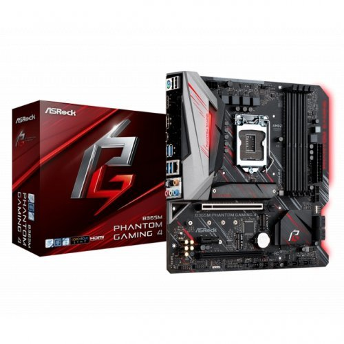Дънна платка ASROCK B365M PHANTOM GAMING 4, Socket 1151(300 series) , mATX, RGB (снимка 1)