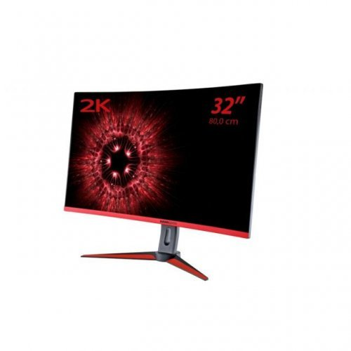 Монитор HANNSPREE HG 324 QJB, TFT - LED Backlight, 31.5 inch, Wide, QHD, Mini DisplayPort DP, DisplayPort DP, HDMI, Черен, Извит геймърски монитор (снимка 1)