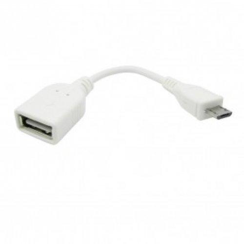 Кабел OTG micro USB VCom Кабел OTG USB AF / Micro USB бял - CU226A-W-0.2m (снимка 1)