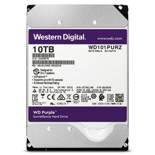 Твърд диск HDD 10TB SATAIII WD Purple 256MB for DVR/Surveillance (3 years warranty) (снимка 1)