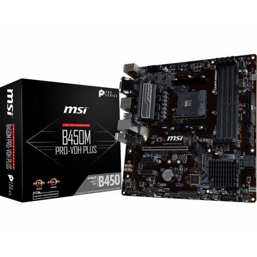 Дънна платка MSI B450M PRO-VDH PLUS, s. AM4, AMD B450, подържа 3-то поколение(3XXX) AMD Ryzen процесори (снимка 1)