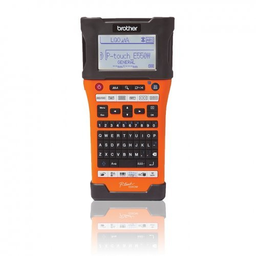 Етикетен принтер BROTHER P-Touch  PTE550W, Labeling System, Handheld, QWERTY, TZe tapes 3,5 to 24 mm, Auto Full&Half, Large Backlit graphic LCD, PC Style keyboard, 1TZE651, Lion battery, AC Adapter, USB cable, Carry Case, Wrist Strap (снимка 1)