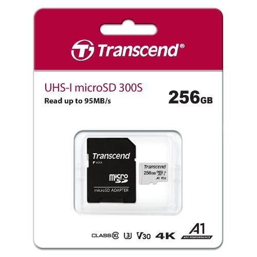 Флаш карта Transcend 256GB UHS-I U3 V30 A1 microSDXC I, Class10 with Adapter, read: up to 95MBs, 45MB/s (снимка 1)