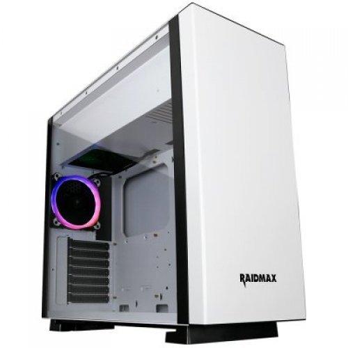 """Компютърна кутия Raidmax ENIGMA S14TW Tower, ATX, 7 slots, 3 X 3.5"""" H.D., 5 X 2.5""""H.D / 2 x USB3.0,HD Audio x 2, PSU Optional, 2 X 120mm fan, 2 x140mm,485x210x475mm White (снимка 1)"""