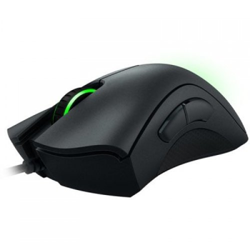 Мишка Razer DeathAdder Essential gaming mouse,True 6,400 DPI optical sensor,Ergonomic Form Factor,Mechanical Mouse Switches with 10 million-click life cycle,1000 Hz Ultrapolling,Single-color green lighting (снимка 1)