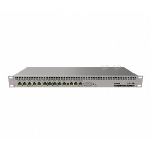 Жичен рутер MikroTik RB1100AHx4, 1.4GHz, 1GB, 13xGE, 60GB M.2 SSD, 2x SATA3, 1xRS232, L6, 1U (снимка 1)