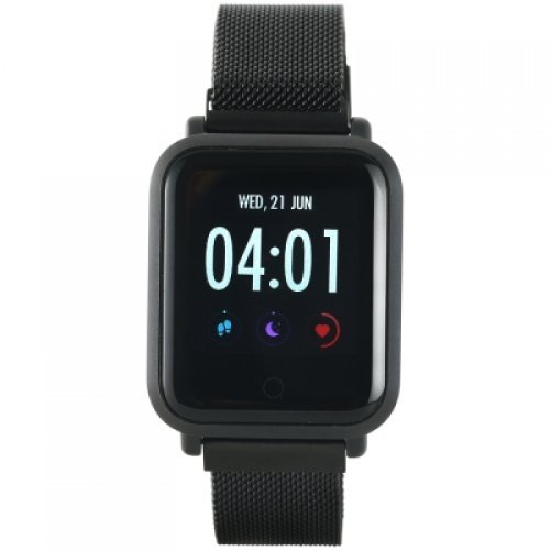 Ръчен часовник Canyon Smart watch, 1.22inch colorful LCD, 2 straps, metal strap and silicon strap, metal case, IP68 waterproof, multisport mode, camera remote, music control, 150mAh, compatibility with iOS and android, Black, host: 42*35*11.4mm, belt: 222*18mm, 56.8g (снимка 1)
