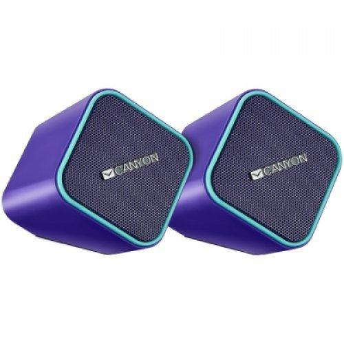 Тонколони за компютър Canyon wired stereo Speaker, 1.2m cable with USB2.0 & 3.5mm audio connector, purple(blue stripe), 65*65*75mm, 0.252kg (снимка 1)