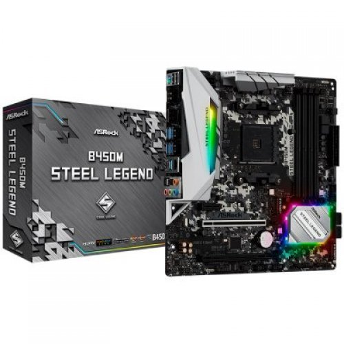 Дънна платка ASROCK B450M STEEL LEGEND, s.AM4 (снимка 1)