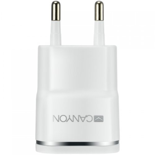 Жично зарядно устройство CANYON Universal 1xUSB AC charger (in wall) with over-voltage protection, Input 100V-240V, Output 5V-1A, CANYON Universal 1xUSB AC charger (in wall) with over-voltage protection , Input 100V-240V, Output 5V-1A, white glossy plastic + silver stripe), 64.5*3 (снимка 1)