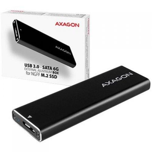 Кутия за диск AXAGON EEM2-U3 USB3.0 - M.2 SSD SATA, up to 80mm SSD, ALU body (снимка 1)
