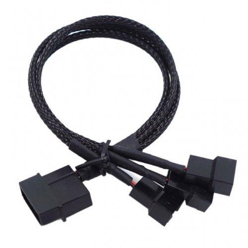 Molex to 3x 3/4Pin Fan, Y Splitter Cable - разклонител за 3 вентилатора s 3 или 4 пина (снимка 1)