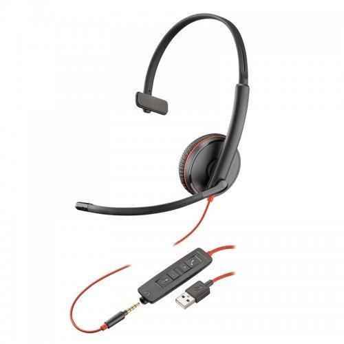 Колцентър слушалка Plantronics Blackwire C3215 USB 3,5mm Jack Mono (снимка 1)