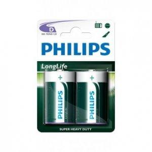 Philips Longlife батерия R20 D, 2-blister, R20L2B/10 (снимка 1)