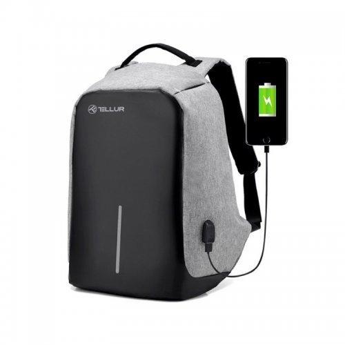 """Чанта за лаптоп Tellur 15.6"""" с USB порт, функция """"Анти-кражба"""" - сива (снимка 1)"""