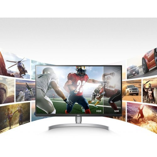 "Монитор LG 27"" 27UL650-W, 4K UHD (3840 x 2160) IPS LED, 5ms, 2x HDMI/ 1x DisplayPort/ 1x Headphone Out (снимка 1)"
