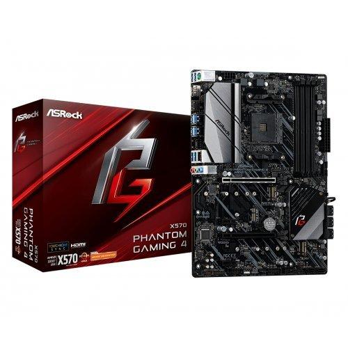 Дънна платка ASRock X570 Phantom Gaming 4, s.AM4, AMD X570, SAM4, 4x DDR4, 2x PCI-E 3.0 x16, 2x PCI-E x1, SATA3, 2x M.2 , USB3.2, GLAN, HDMI, DP, ATX, Retail (снимка 1)