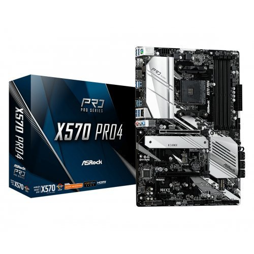 Дънна платка ASRock X570 Pro4, s.AM4, AMD X570, SAM4, 4xDDR4, 2xPCI 3.0x16, 2xPCI Ex1, SATA III, 2xHyper M.2, USB3.2, GLAN, HDMI, DP, ATX, Retail (снимка 1)