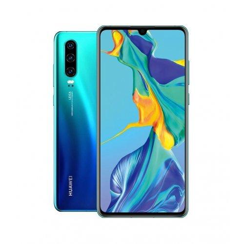 "Смартфон Huawei P30 Aurora, ELE-L29 6.1"", FHD 2340x1080, 2 x Cortex-A76 Based 2.6GHz+ 2 x Cortex-A76 Based 1.92GHz + 4 x Cortex-A55 1.8GHz, 6GB+128GB, 4G LTE, Cam 40MP + 16MP + 8MP, front 32MP, BT,FPR, WiFi, Android+Huawei Sound Stone portable bluetooth (снимка 1)"