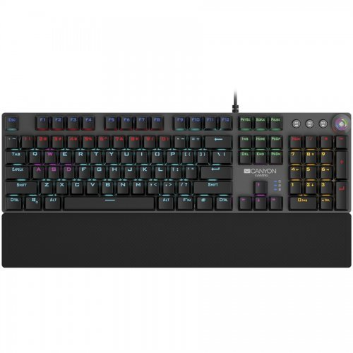 Клавиатура Canyon Nightfall Mechanical Wired Gaming Keyboard, CND-SKB7-US, Black 104 mechanical switches, 22 types of lights, Trigger actuation 1.5mm, US layout, dark grey, size: 435x125x37.47mm, 840g (снимка 1)