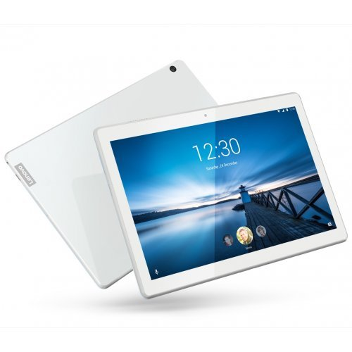 "Таблет Lenovo Tab M10 4G WiFi GPS BT4.2, Qualcomm 1.8GHz OctaCore, 10.1"" IPS 1920x1200, 3GB DDR3, 32GB flash, 5MP cam + 2MP front, Nano SIM, MicroSD up to 256GB, USB-C, dedicated docking/charging port, Android 9 Pie, Dolby Atmos, Polar White (снимка 1)"