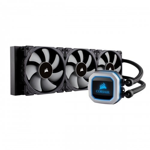 Охлаждане Corsair Hydro Series H150i PRO, Compatible with Intel (115x, 2011/2066) and AMD (AM3/AM2/AM4, AMD TR4 (Purchase TR4 bracket CW-8960054), 360mm Radiator, Advanced RGB Lighting and Fan Control with Software, Liquid CPU Cooler (снимка 1)