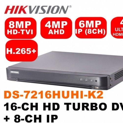 Хибриден видеорекордер HikVision DS-7216HUHI-K2/16A; 16+8 канален пентабриден HD-TVI/AHD/CVI/IP цифров рекордер; 14 аудио входа/ 1 изход; Turbo HD 4.0, Pentabrid, H.265+; резолюция 8MP (3840х2160) за TVI/до 5MP за AHD/до 4MP за CVI; скорост на запис (общо): 128 кад/сек@8MP, 192 кад/сек@5MP, 240 кад/сек@4MP, 400 кад/сек@1080p/720p/960H/D1 (real-time) (снимка 1)