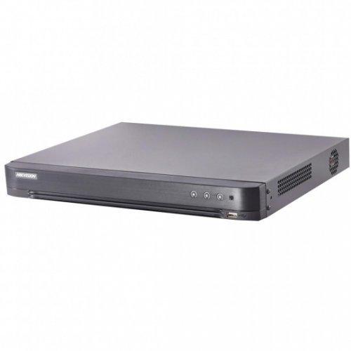 Хибриден видеорекордер HikVision DS-7208HTHI-K2; 8+4 канален 4K пентабриден HD-TVI/AHD/CVI/IP цифров рекордер; Turbo HD 4.0, Pentabrid, H.265+, UltraHD 4K; резолюция до 8 мегапиксела (3840х2160) за TVI; скорост на запис (общо) до 80 кад/сек@8MP (снимка 1)