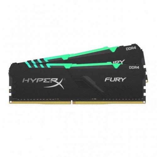 RAM памет DDR4 16GB Kit 2x8GB 2400Mhz, Kingston HyperX Fury, RGB, PC4-19200, CL15, HX424C15FB3AK2/16 (снимка 1)