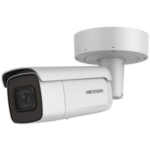 IP камера HikVision DS-2CD2663G0-IZS; корпусна IP камера Ден/Нощ, EXIR технология с обхват до 50м; 6.0 Мегапиксела (3072x2048@20 кад/сек; 2560x1440@25 кад/сек); моторизиран варифокален обектив 2.8~12 мм; механичен IR филтър; 3D DNR шумов филтър; 120dB WDR; H.265+; слот за micro SDXC карта (до 128GB); вандалоустойчива (IK10); метален корпус за външен монтаж (IP67) - 30~60C; 12Vdc/PoE+ 18W; интегрирана монтажна основа с конектори (снимка 1)