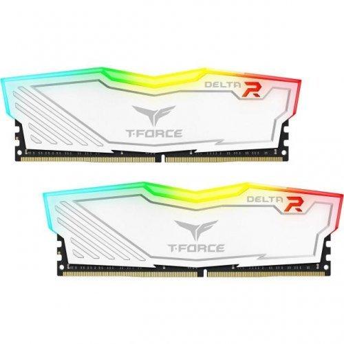 RAM памет DDR4 16GB Kit 2x8GB 3200MHz, Team Group T-Force Delta, RGB, White CL16-18-18-38 1.35V (снимка 1)