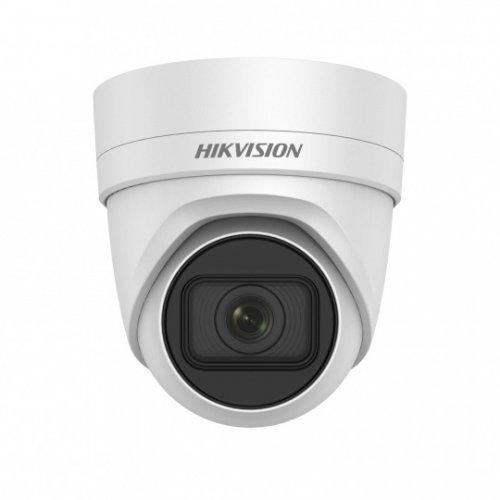 IP камера HikVision DS-2CD2H85FWD-IZS; 4K UltraHD куполна IP камера Ден/Нощ, EXIR технология с обхват до 30м; 8.0 MP (3840x2160@20 кад/сек; 2560x1920@25 кад/сек); моторизиран варифокален обектив 2.8~12 мм; механичен IR филтър; 3D DNR шумов филтър; 120dB WDR; H.265+; слот за micro SDXC карта (до 128GB); вандалоустойчива (IK10); за външен монтаж (IP67); вградена гръмозащита; PoE; монт. основа с конектори (снимка 1)