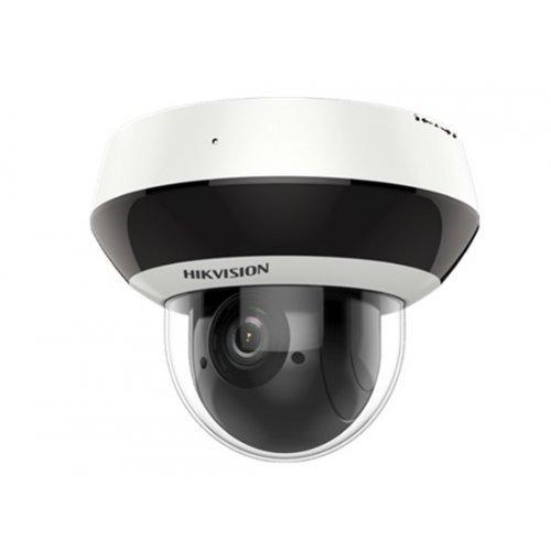 IP камера HikVision DS-2DE2A204IW-DE3; управляема IP мини-камера Ден/Нощ; 2.0 MP FullHD (1920×1080@30 к/с); 4X оптично/16X цифрово увеличение; обектив 2.8~12 мм; вградено IR осветление до 20 м; механичен IR Cut филтър; H.265+; 3D DNR шумов филтър; 120dB WDR; аудио вход/изход; слот за microSDXC карта (до 256GB); вандалозащитена (IK10); за външен монтаж (IP66); вградена гръмозащита (TVS4000V); PoE (снимка 1)
