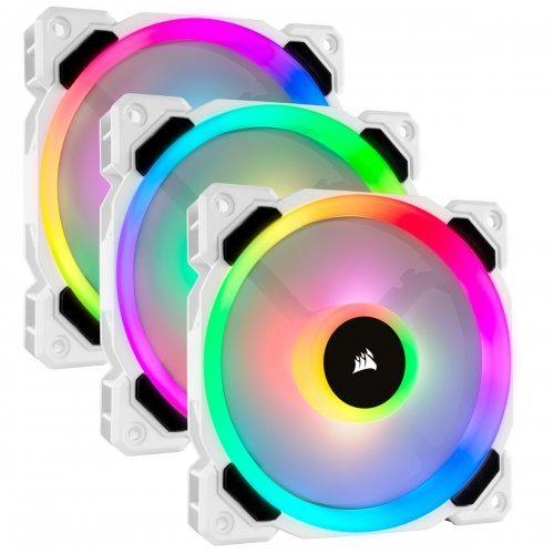Охлаждане Corsair LL Series, LL120 RGB, 120mm Dual Light Loop,16 individually addressable RGB LED PWM Fan, Triple Pack Pack with Lighting Node PRO, White (снимка 1)