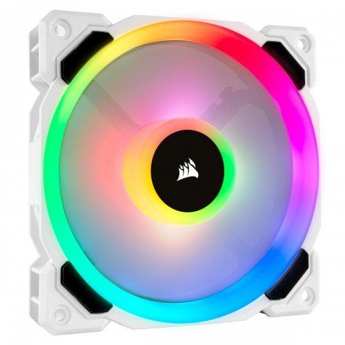 Охлаждане Corsair LL Series, LL120 RGB, 120mm Dual Light Loop,16 individually addressable RGB LED PWM Fan, Single Pack, White (снимка 1)
