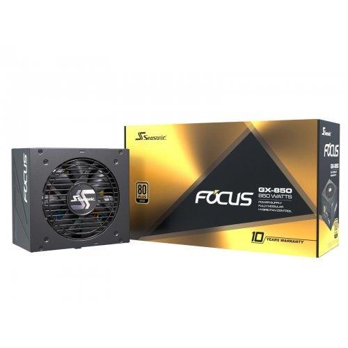 Захранващ блок Seasonic FOCUS GX 850, 850 Watts, 80+ GOLD, 12 cm fan Fluid Dynamic Bearing, Fully modular DC cables, Hybrid silent fan control, Power supply (снимка 1)