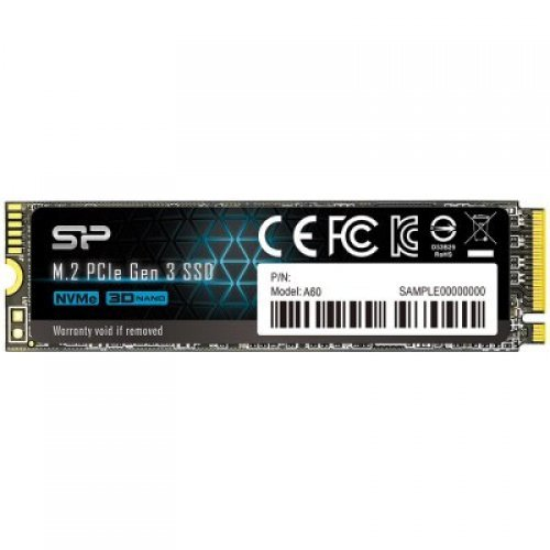 SSD SILICON POWER 512GB A60, M.2 2280, PCIe Gen3x4, SLC CacheRead/Write: 2200/1600 Mb/s (снимка 1)