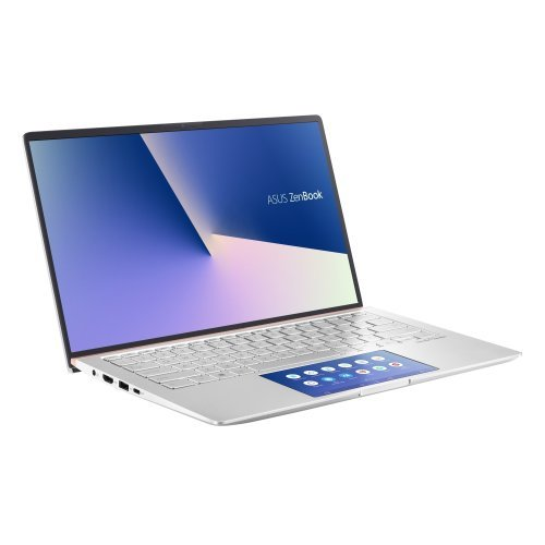 "Лаптоп Asus ZenBook UX434FAC-WB502R, ScreenPad,IntelCore i5-10210U , 1.6 GHz (6M Cache, up to 4.2 GHz), 14"" FHD (1920x1080) Glare, 8GB LPDDR3, PCIEG3x2 NVME 512G M.2 SSD, Intel UHD Graphics, Win 10 Pro 64 bit, Sleeve + USB3.0 to RJ45 cable, Illum. Kbd, Silver (снимка 1)"