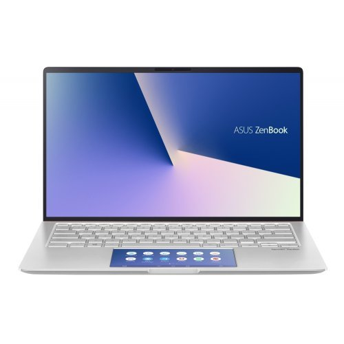 """Лаптоп Asus ZenBook UX434FAC-WB502T, ScreenPad,IntelCore i5-10210U , 1.6 GHz (6M Cache, up to 4.2 GHz), 14"""" FHD (1920x1080) AG, 8GB LPDDR3, PCIEG3x2 NVME 512G M.2 SSD, Win 10  64 bit, Sleeve + USB3.0 to RJ45 cable, Illum. Keyboard, Icicl (снимка 1)"""
