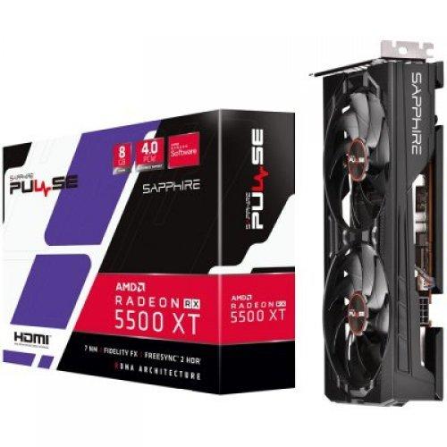 Видео карта AMD SAPPHIRE PULSE RADEON RX 5500 XT 8G GDDR6 HDMI / TRIPLE DP OC W/BP (UEFI) (снимка 1)